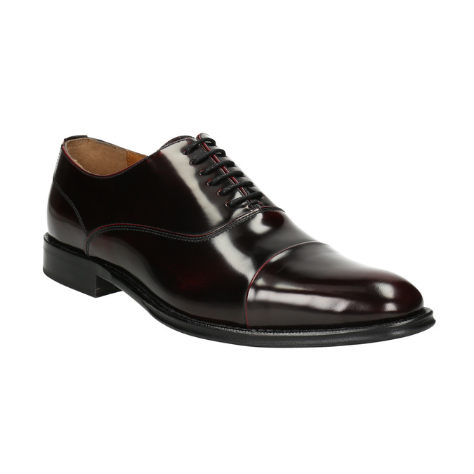 Leather Oxford shoes burgundy bata, red , 826-5671 - 13
