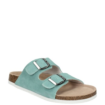 Blue leather sandals de-fonseca, turquoise, 573-7621 - 13