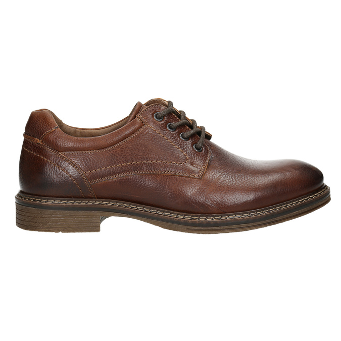 Brown stitched leather shoes bata, brown , 826-4915 - 15