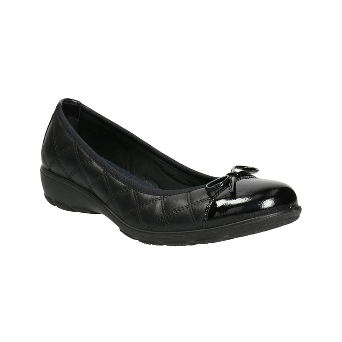 Leather ballerinas with stitching, black , 526-6638 - 13