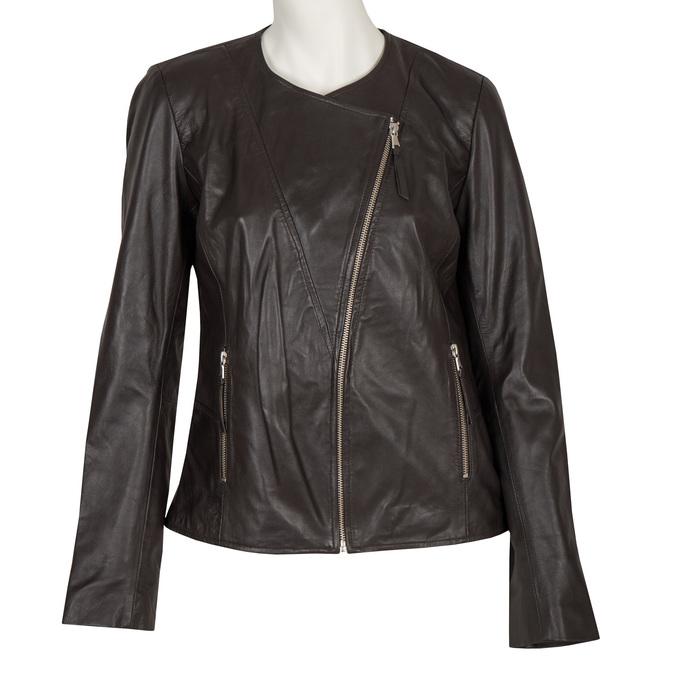 Ladies' Leather Jacket with Asymmetric Zip bata, brown , 974-4177 - 13