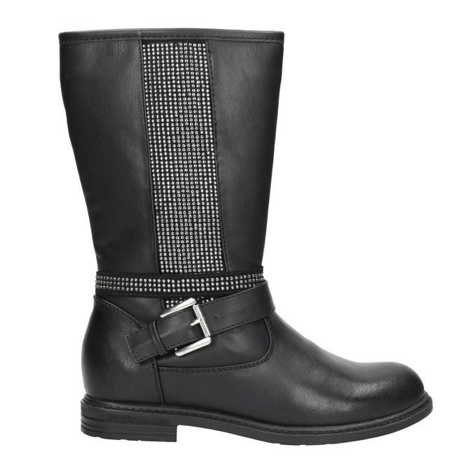 Girls' high boots with rhinestones mini-b, black , 391-6398 - 26