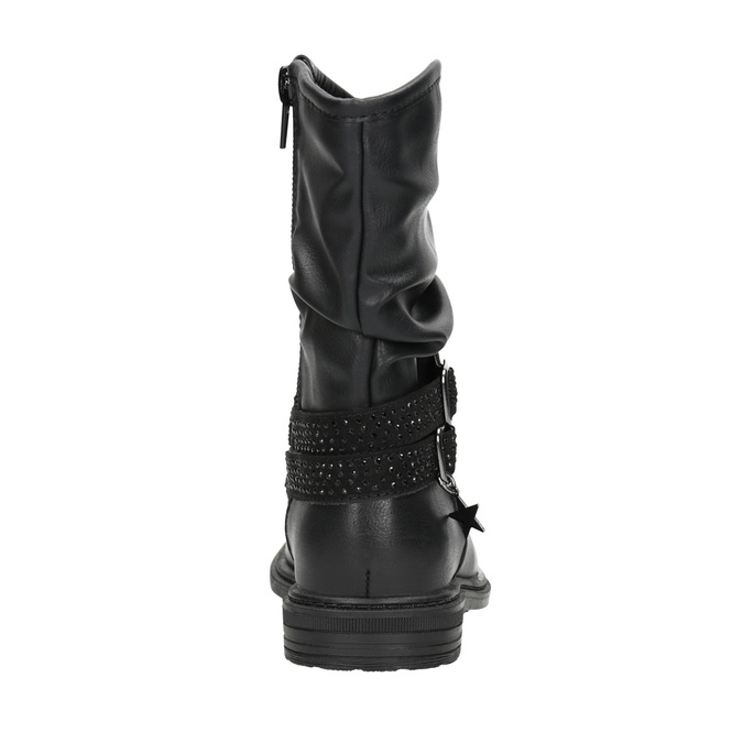 Girls' high boots with rhinestones mini-b, black , 291-6397 - 16