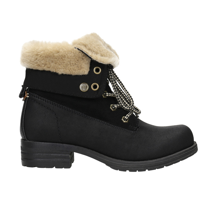 Ankle Boots with Fleece bata, black , 591-6618 - 15