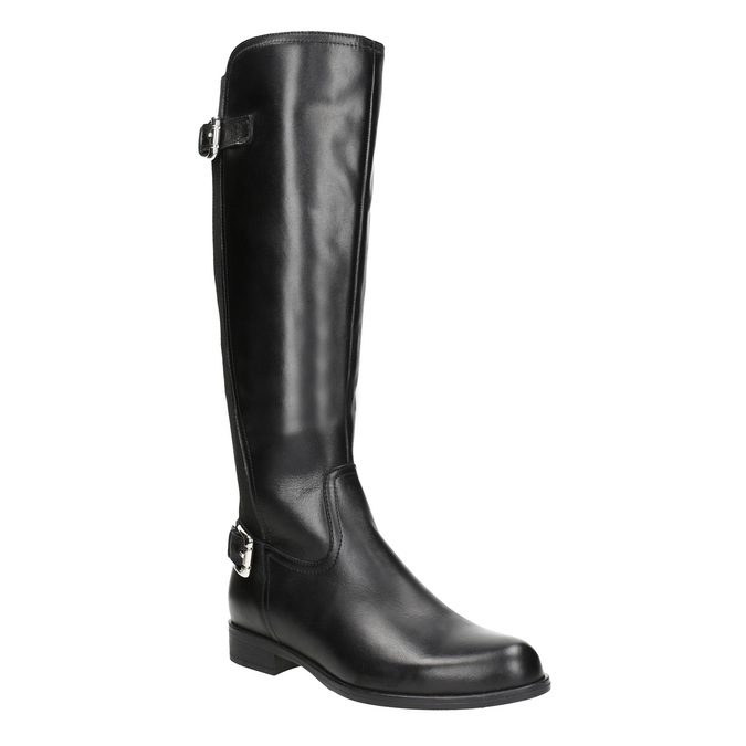 Ladies' leather high boots with buckles bata, black , 594-6664 - 13