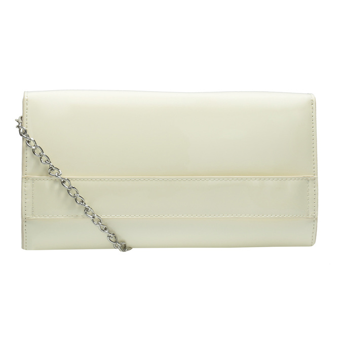 Patent leather envelope handbag with chain bata, beige , 961-1685 - 16