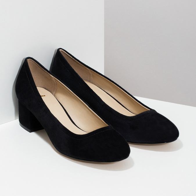 Leather pumps on a stable heel bata, black , 623-6644 - 26
