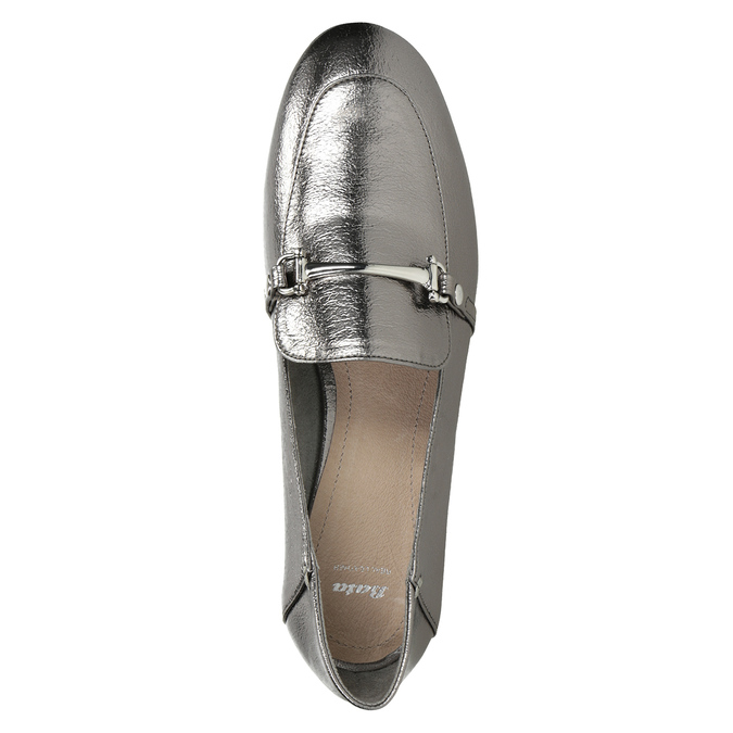 Silver moccasins with a buckle bata, silver , 511-1609 - 15