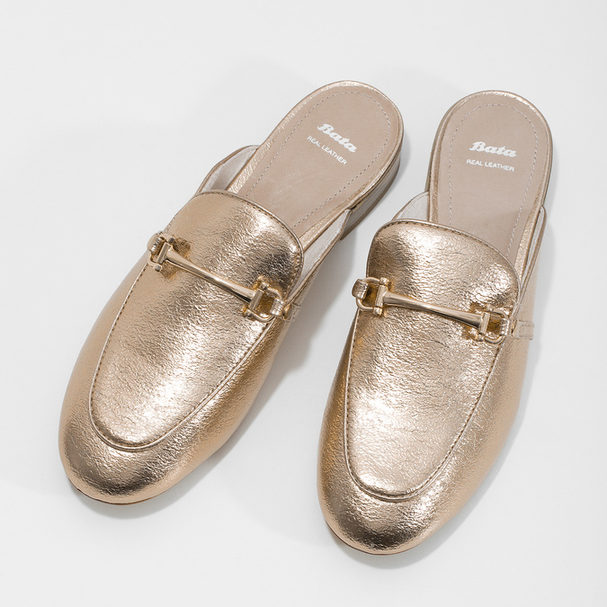 Ladies' slippers with a buckle bata, gold , 511-8609 - 16