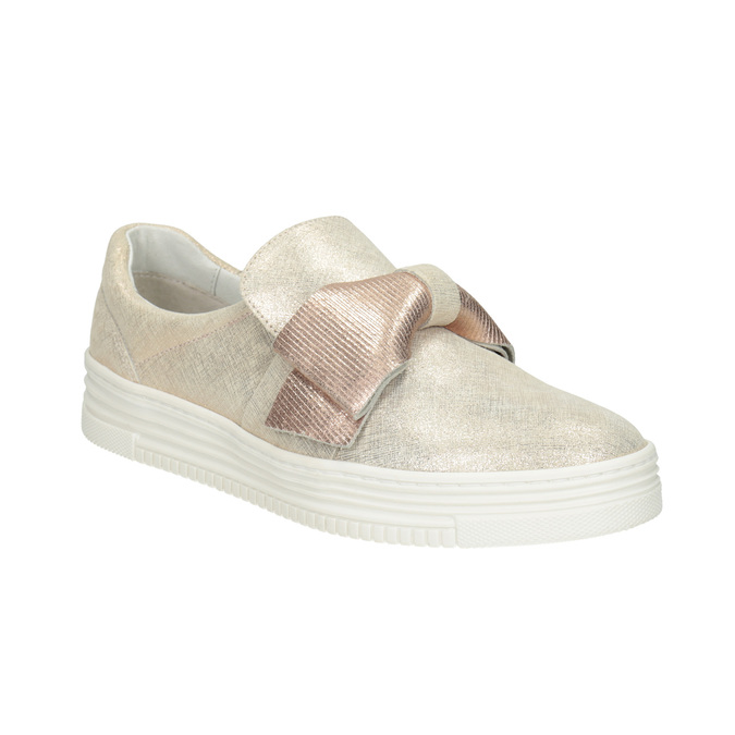 Leather Slip-on shoes with a bow bata, pink , 536-5600 - 13