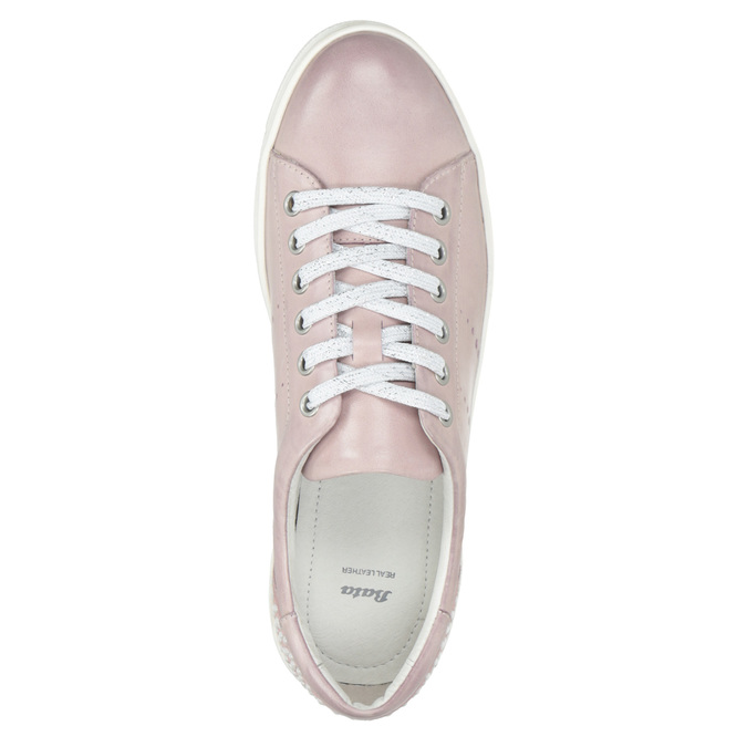 Pink leather sneakers with small pearls bata, pink , 546-5606 - 15