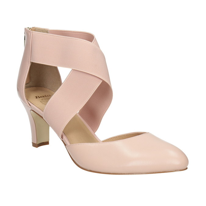 Pinkish cream-colored leather pumps insolia, pink , 624-8643 - 13