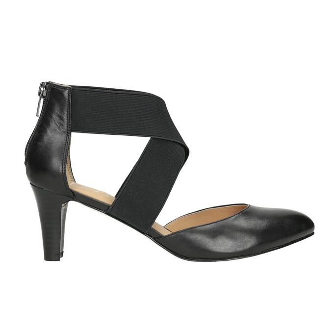 Ladies' leather pumps insolia, black , 624-6643 - 26