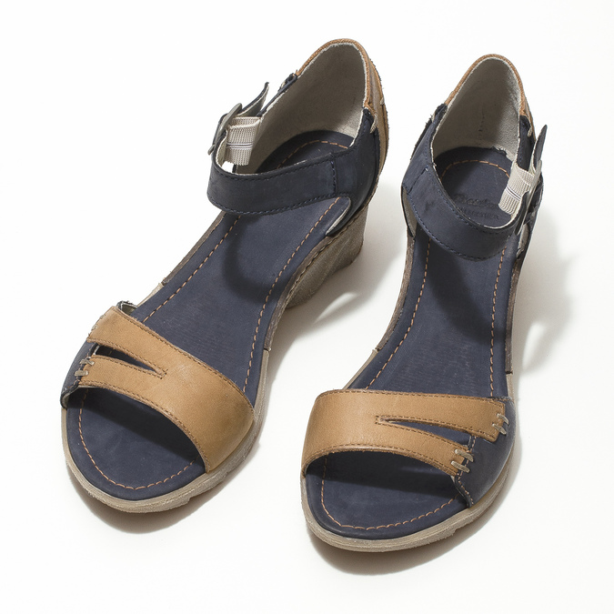 Leather wedge-heel sandals bata, blue , 626-9642 - 16