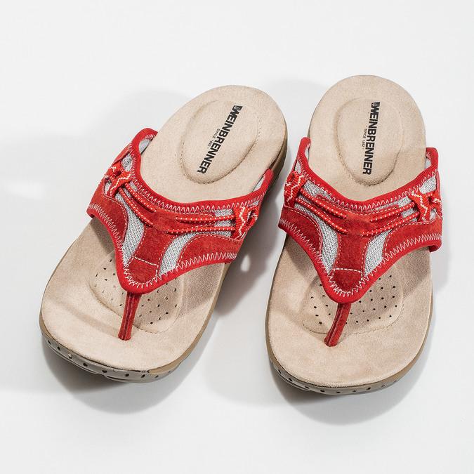 Ladies' flip-flops with a distinctive sole weinbrenner, red , 566-5611 - 16