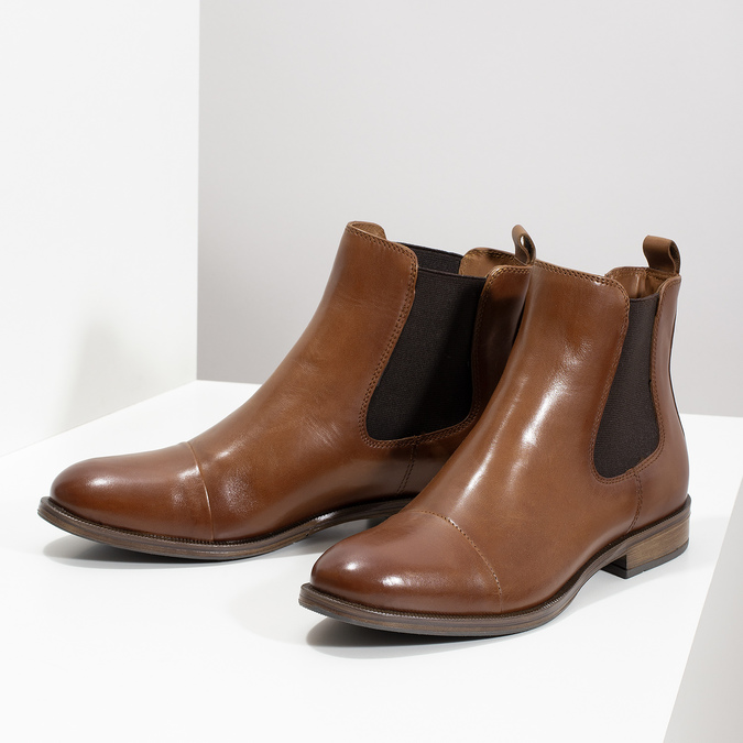 Brown leather Chelsea boots bata, brown , 594-4636 - 16